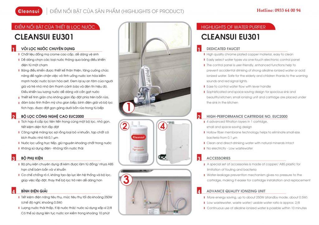 Điểm nổi bật lọc nước Cleansui EU301 / AL700