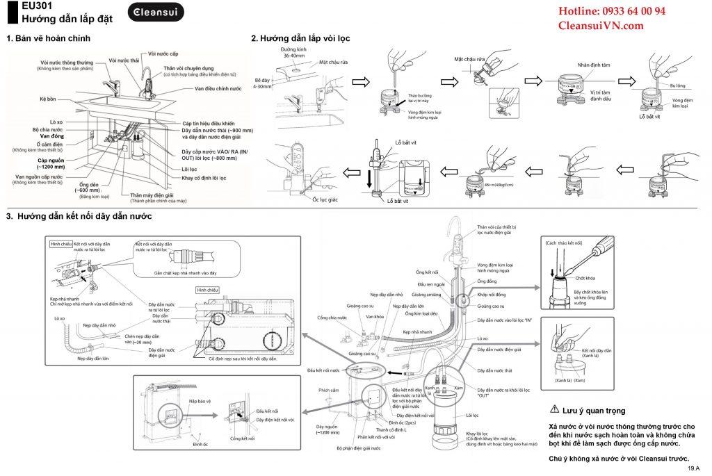Hướng dẫn lắp đặt lọc nước Cleansui EU301