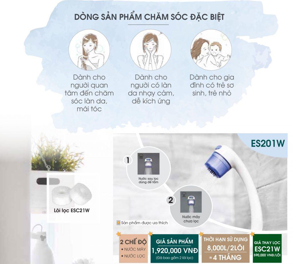 Lọc nước vòi sen tắm ES201W
