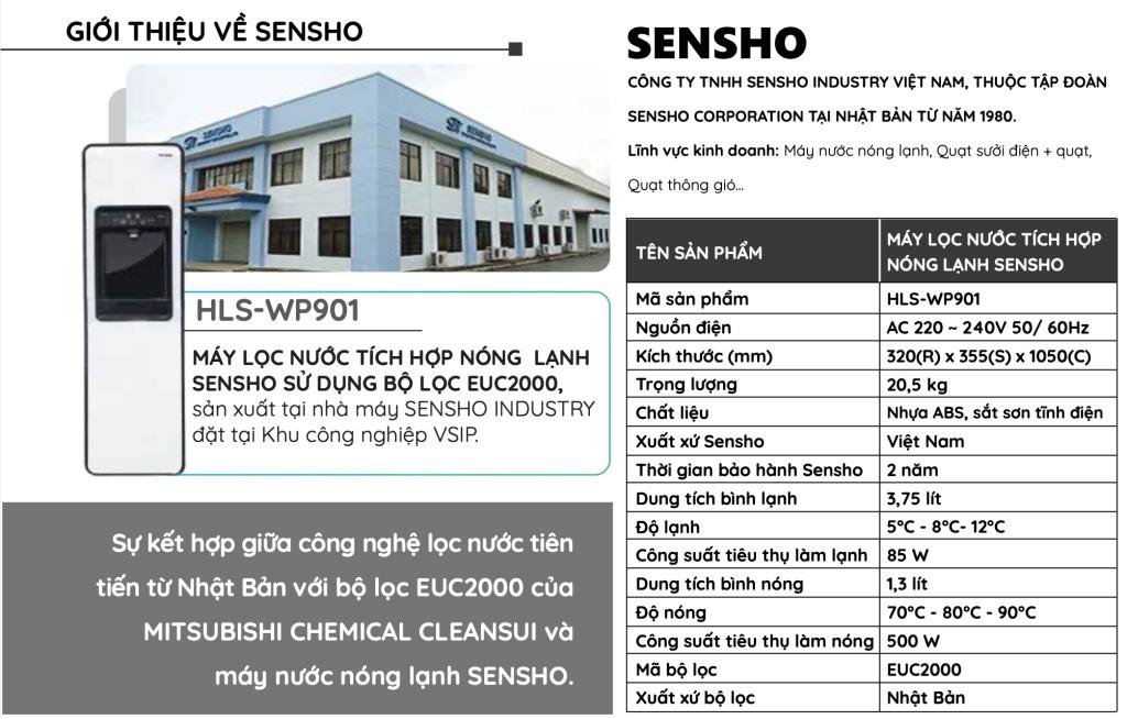 Thông số kỹ thuật máy lọc nước Sensho
